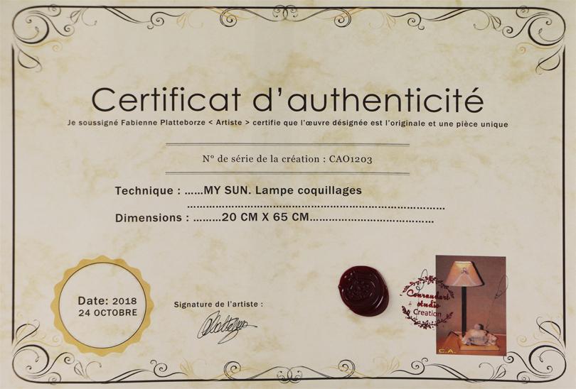 Certificat d'authenticité pour chaque réalisation.